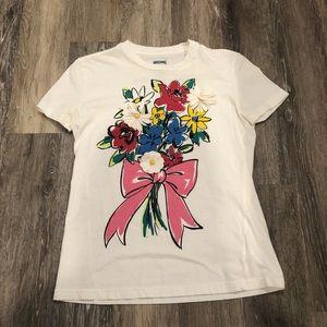 [Moschino] White Flowers T Shirt